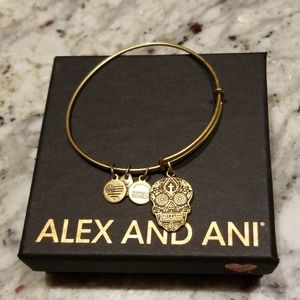 Calavera Alex and Ani skull charm bangle